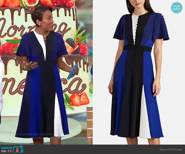 Colorblocked Silk Dress by Prabal Gurung worn by Robin Roberts (Robin Roberts) on Good Morning America