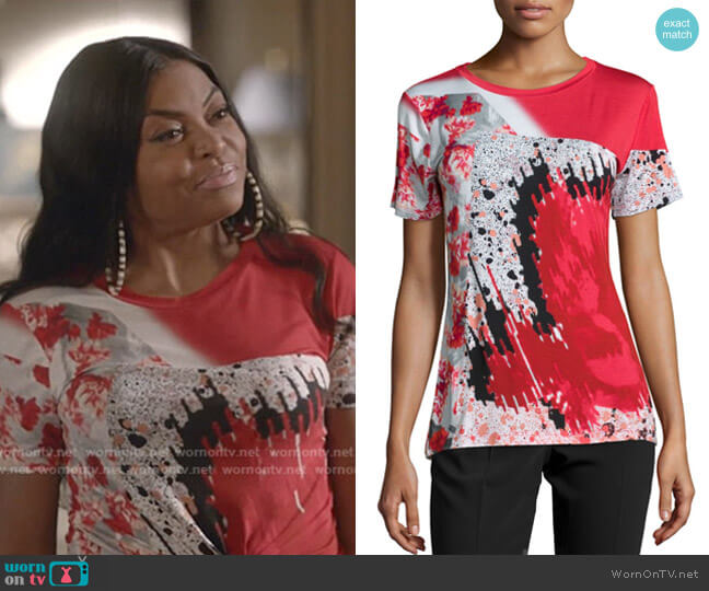 Short-Sleeve Abstract-Print T-Shirt by Prabal Gurung worn by Cookie Lyon (Taraji P. Henson) on Empire