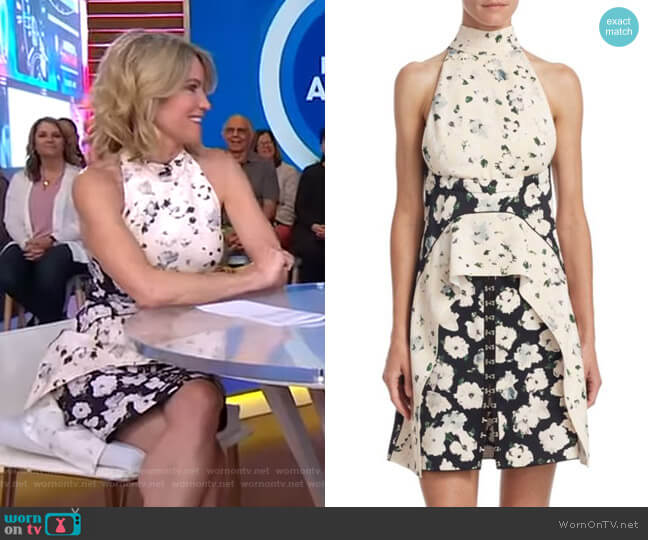 Floral-Print A-Line Dress by Proenza Schouler worn by Amy Robach  on Good Morning America