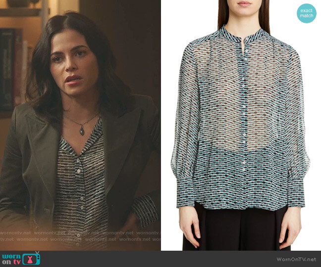 Print Crepe Chiffon Blouse by Proenza Schouler worn by Julian Booth (Jenna Dewan) on The Resident