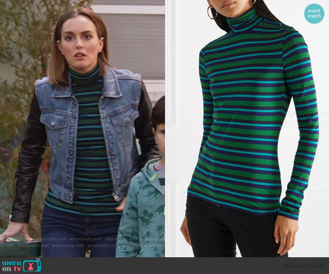 striped stretch-cotton jersey turtleneck sweater by Proenza Schouler worn by Angie (Leighton Meester) on Single Parents