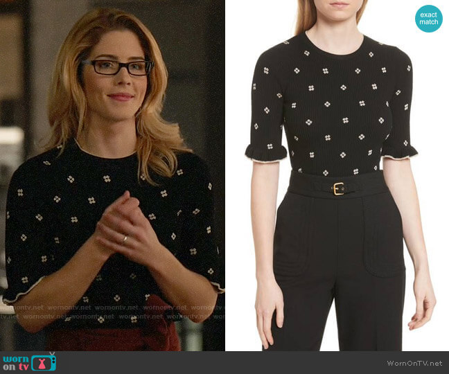 RED Valentino Flower Intarsia Knit Top worn by Felicity Smoak (Emily Bett Rickards) on Arrow