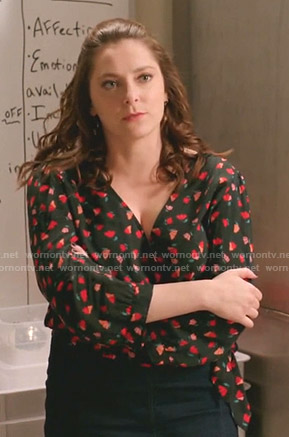 Rebecca's black floral wrap top on Crazy Ex-Girlfriend