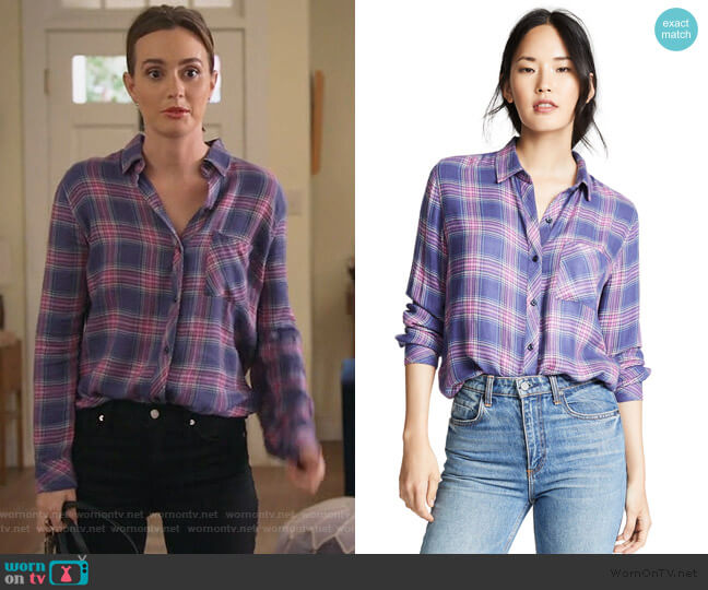 Hunter Button Down Shirt by Rails worn by Angie (Leighton Meester) on Single Parents