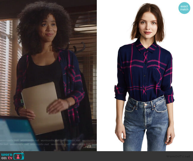 Hunter Shirt by Rails in Navy / Lipstick worn by Allison Adams (Jasmin Savoy Brown) on For the People