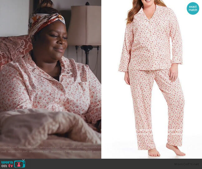 Floral Jersey Classic Pajamas by Lauren by Ralph Lauren worn by Ruby Hill (Retta) on Good Girls