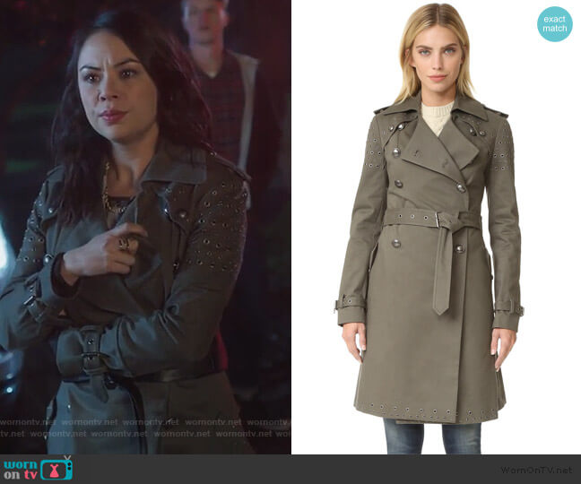 Amis Coat with Grommets by Rebecca Minkoff worn by Mona Vanderwaal (Janel Parrish) on PLL The Perfectionists