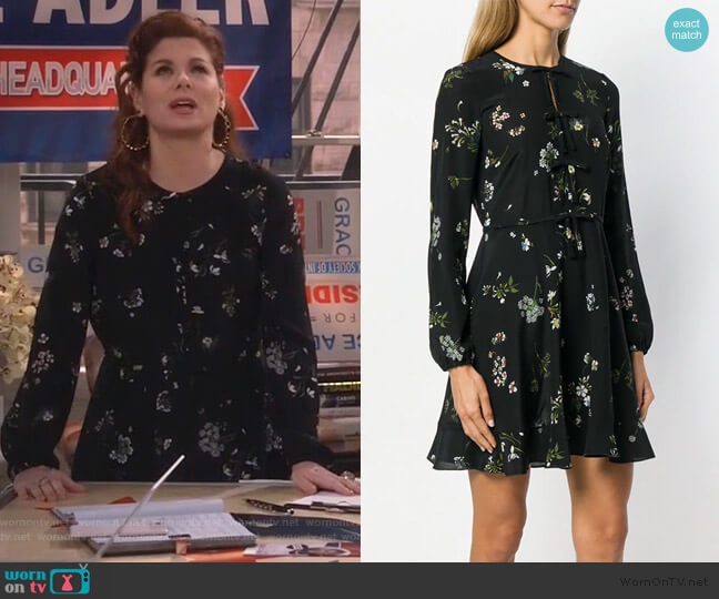 long-sleeved mini dress by Red Valentino worn by Grace Adler (Debra Messing) on Will & Grace