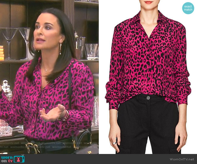 Leopard-Print Silk Blouse by Robert Rodriguez worn by Kyle Richards  on The Real Housewives of Beverly Hills