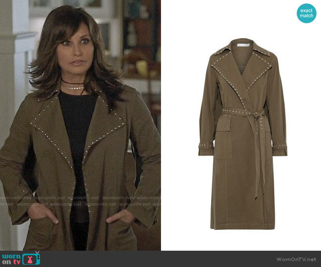 Robert Rodriguez Studded cotton-blend twill trench coat worn by Gladys Jones (Gina Gershon) on Riverdale