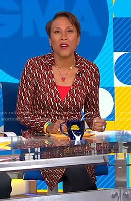 Robin's geometric print wrap dress on Good Morning America
