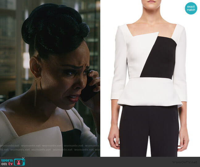 Houghton 3/4-Sleeve Asymmetric-Neck Colorblock Blouse by Roland Mouret worn by Tegan Price (Amirah Vann) on HTGAWM