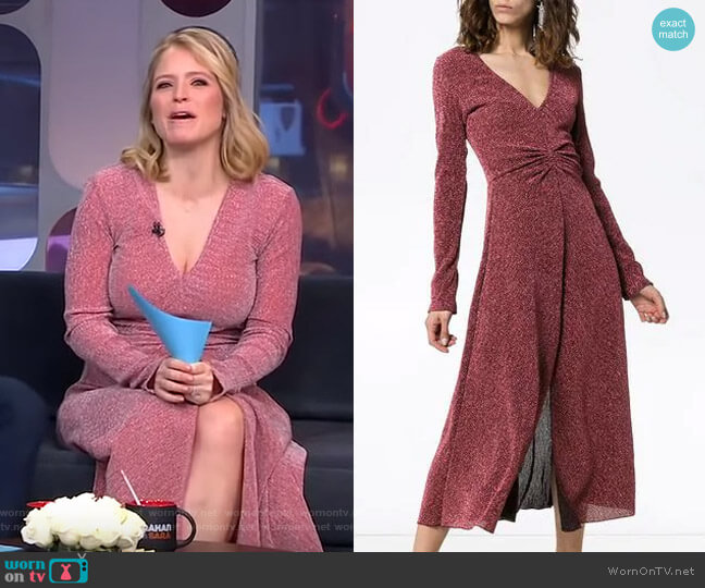Gathered Waist Lurex Midi Dress by Rotate worn by Sara Haines  on Good Morning America