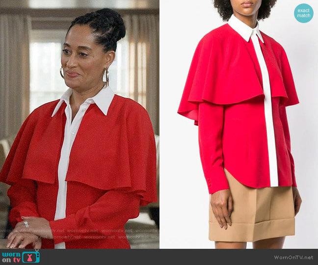 Sara Battaglia Contrasting Detail Cape Shirt worn by Rainbow Johnson (Tracee Ellis Ross) on Blackish