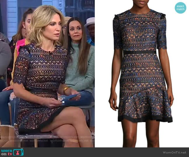 Ruffle Fit and Flare Dress by Saloni worn by Amy Robach  on Good Morning America