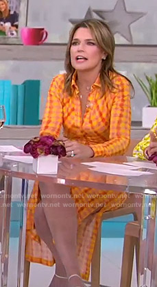 Savannah's orange gingham check shirtdress on Today