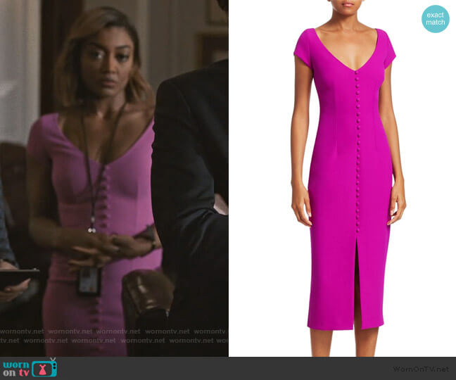 Buttoned Crepe Cocktail Dress by Safiyaa worn by Daisy Grant (Patina Miller) on Madam Secretary