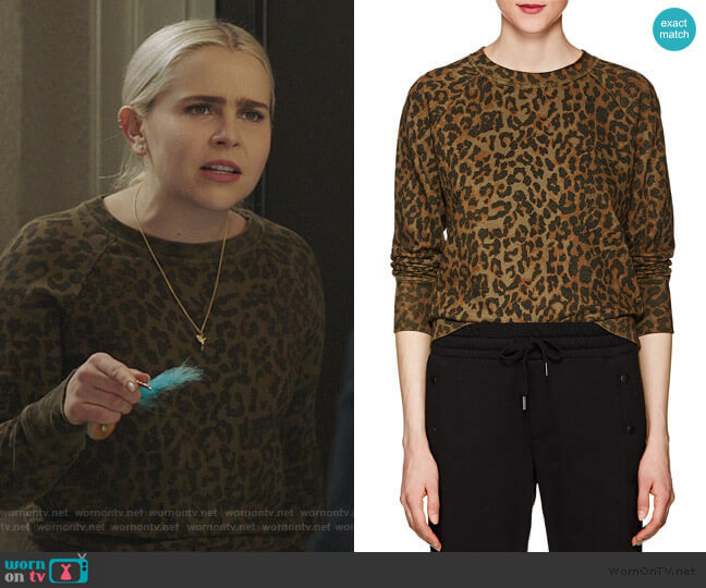 Saguro Leopard-Print Cotton Sweatshirt by NSF worn by Annie Marks (Mae Whitman) on Good Girls
