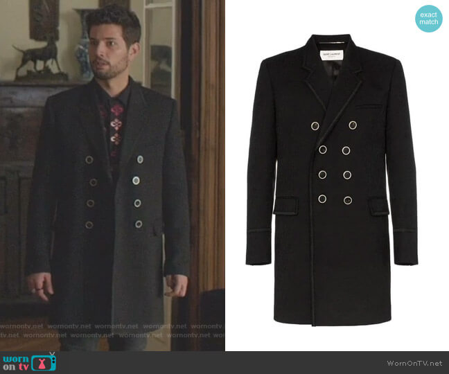 Double Breasted Paisley Jacquard Virgin Wool Coat by Saint Laurent worn by Sam Flores (Rafael de la Fuente) on Dynasty