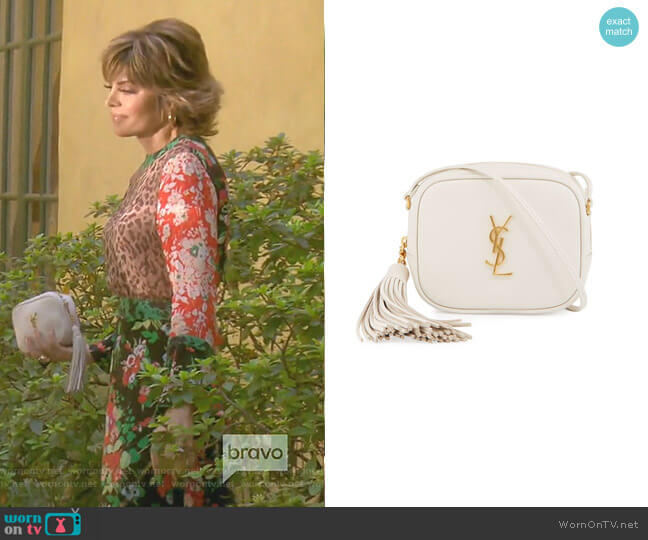 Monogram Blogger Crossbody Bag by Saint Laurent worn by Lisa Rinna  on The Real Housewives of Beverly Hills