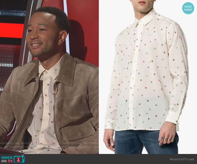 Star Print Shirt by Saint Laurent worn by John Legend on The Voice