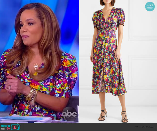 Lea floral-print silk crepe de chine dress by Saloni worn by Sunny Hostin  on The View