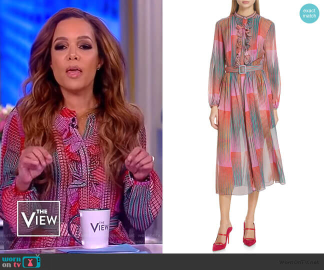 Raquel Belted Silk Midi Dress by Saloni worn by Sunny Hostin  on The View