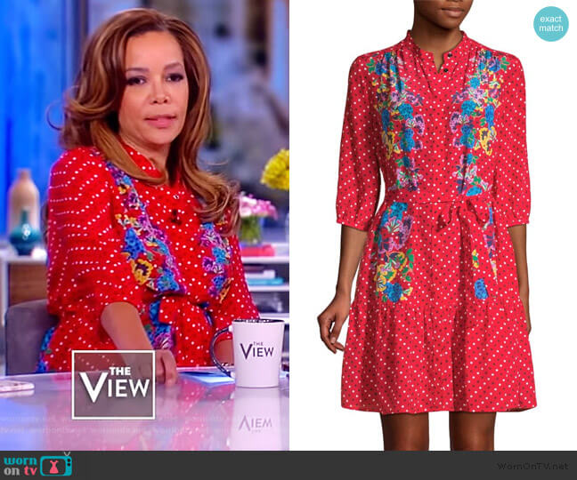 Silk Floral Dot Shirtdress by Saloni worn by Sunny Hostin (Sunny Hostin) on The View