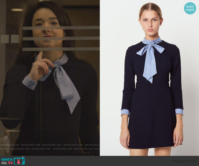 Contrasting Tie-neck Collar dress by Sandro worn by Marissa Gold (Sarah Steele) on The Good Fight