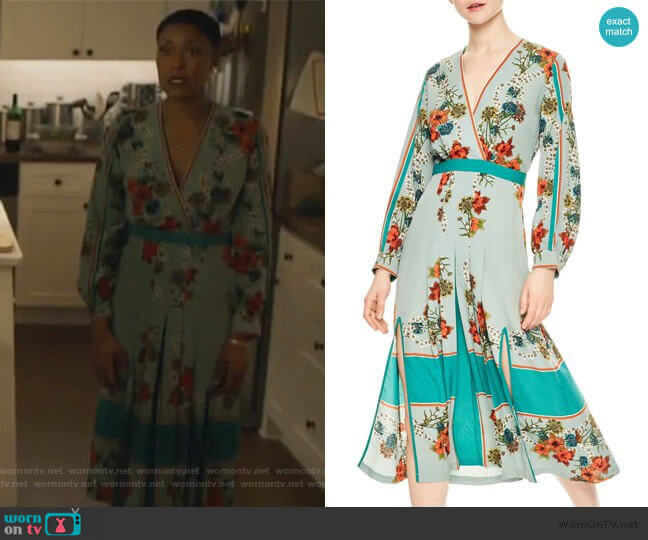 Floral Faux Wrap Dress by Sandro worn by Lynn Stewart (Christine Adams) on Black Lightning