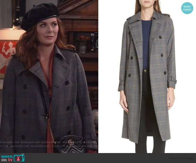 Long Plaid Coat by Sandro worn by Grace Adler (Debra Messing) on Will & Grace