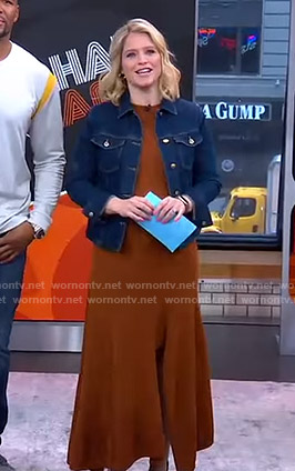 Sara's brown slit dress and denim jacket on GMA Strahan And Sara