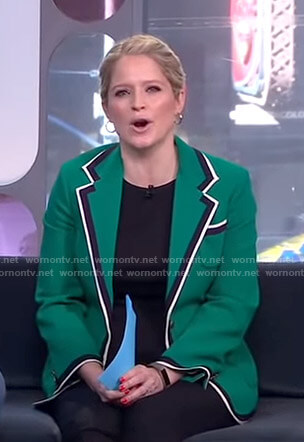 Sara's green contrast trim jacket on GMA Strahan And Sara
