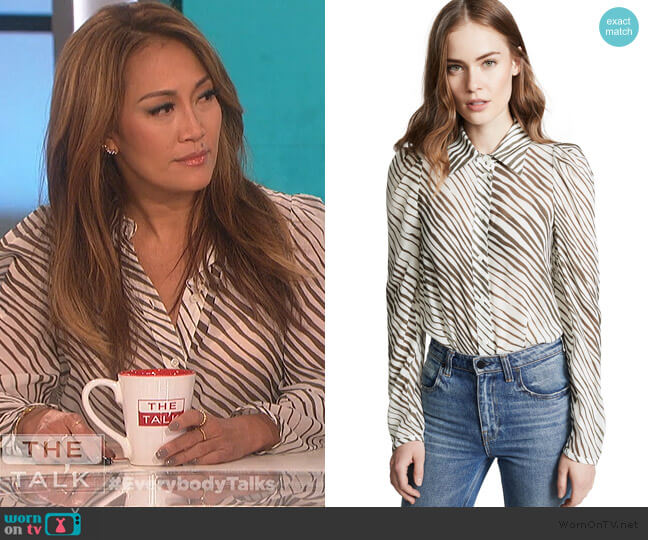 Zebra Blouse by See by Chloe worn by Carrie Inaba  on The Talk