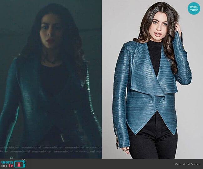 Shayna Drape Leather Jacket by Guess worn by Isabelle Lightwood (Emeraude Toubia ) on Shadowhunters