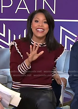 Sheinelle's red ruffled sweater on Today
