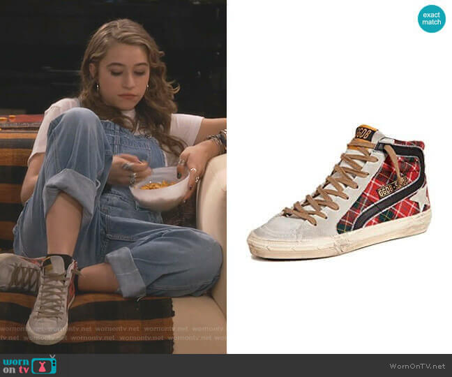 Slide Sneakers by Golden Goose worn by Shannon (Odessa Adlon) on Fam