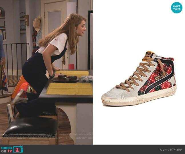 Slide Sneakers by Golden Goose worn by Shannon (Odessa Adlon) on Fam