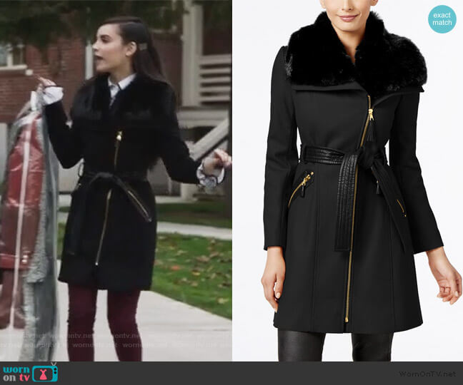 Faux-Fur-Collar Asymmetrical Belted Coat by Via Spiga worn by Ava Jalali (Sofia Carson) on PLL The Perfectionists