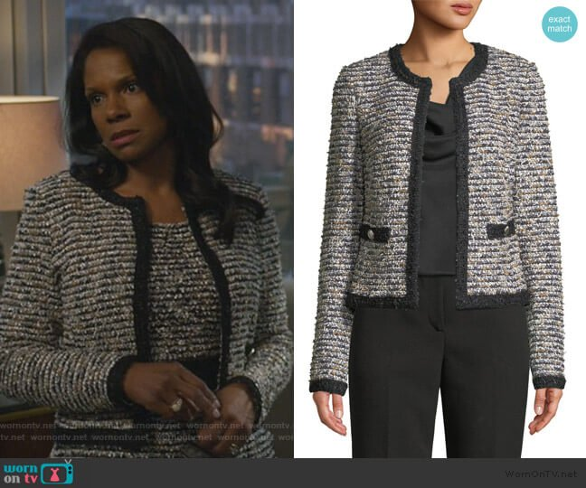 Inlaid Eyelash Tweed Jacket by St. John Collection worn by Liz Reddick-Lawrence (Audra McDonald) on The Good Fight