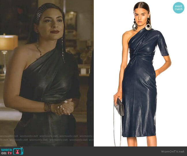 Faux Leather One Shoulder Dress by Stella McCartney worn by Cristal Jennings (Ana Brenda Contreras) on Dynasty