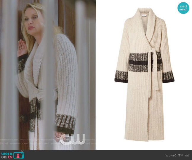 Striped Ribbed Wool-Blend Cardigan by Chloe worn by Alexis Carrington (Elaine Hendrix) on Dynasty