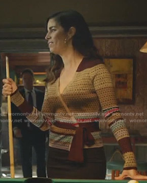 Susan's brown wrap sweater on Whiskey Cavalier