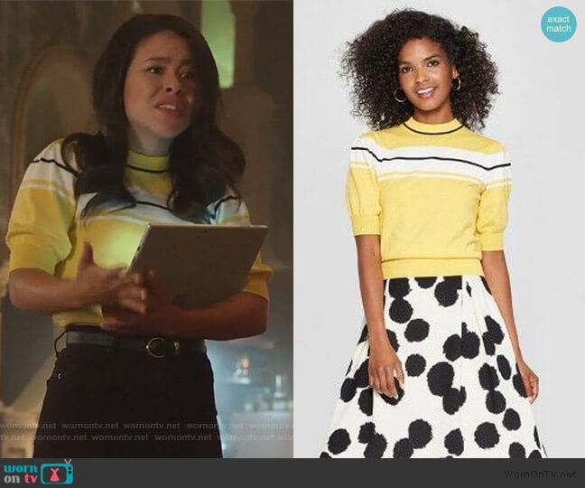 Who What Wear Puff Sleeve Crewneck Sweater by Target worn by Mariana Foster (Cierra Ramirez) on Good Trouble