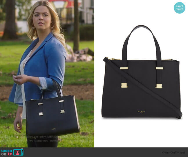 Alunaa leather tote bag by Ted Baker worn by Alison DiLaurentis (Sasha Pieterse) on PLL The Perfectionists
