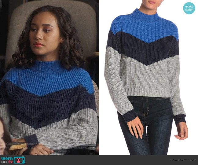 Apres Ski Colorblock Knit Mock Neck Sweater by Ten Sixty Sherman worn by Caitlin Martell-Lewis (Sydney Park) on PLL The Perfectionists