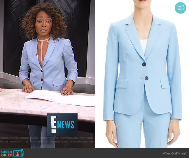 Carissa Classic Blazer and Treeca Cropped Pants by Theory worn by Zuri Hall  on E! News