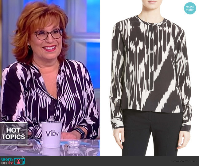 Isalva Interlace Ikat Silk Top by Theory worn by Joy Behar  on The View