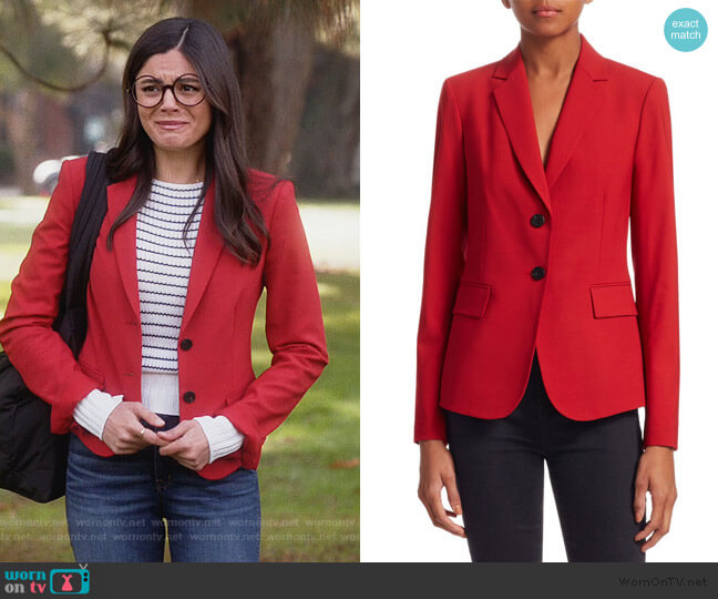 Nichelle Wool Blazer by Theory worn by Lisa Apple (Monica Barbaro) on Splitting Up Together