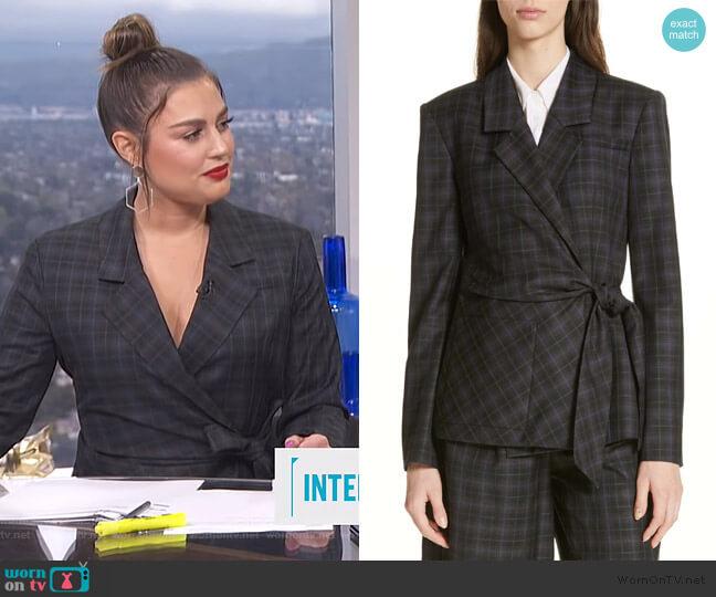 Marvel Plaid Wrap Jacket by Tibi worn by Carissa Loethen Culiner (Carissa Loethen Culiner) on E! News
